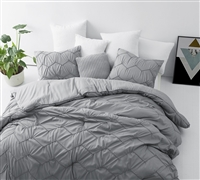 Unique Gray Twin XL Textured Comforter and Standard Pillow Shams with Stylish Handstitched Chevron Design