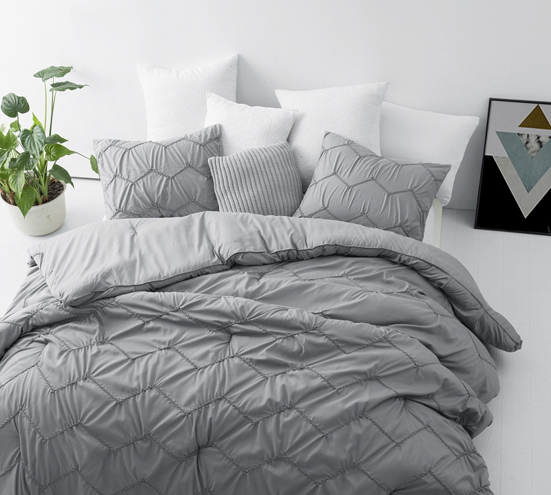 Textured Waves Twin Xl Comforter Supersoft Gray