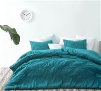 Extra Large Twin Comforter with Textured Chevron Pattern Ocean Depth Teal Twin Oversized Bedding