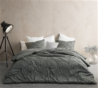 Full XL Oversized Bedspread Extra Large Full Comforter with Matching Dark Gray Standard Pillow Shams