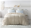 Braided Decorative Textured Extra Large Queen Blanket with Tasseled Ends Off White Queen Bedding