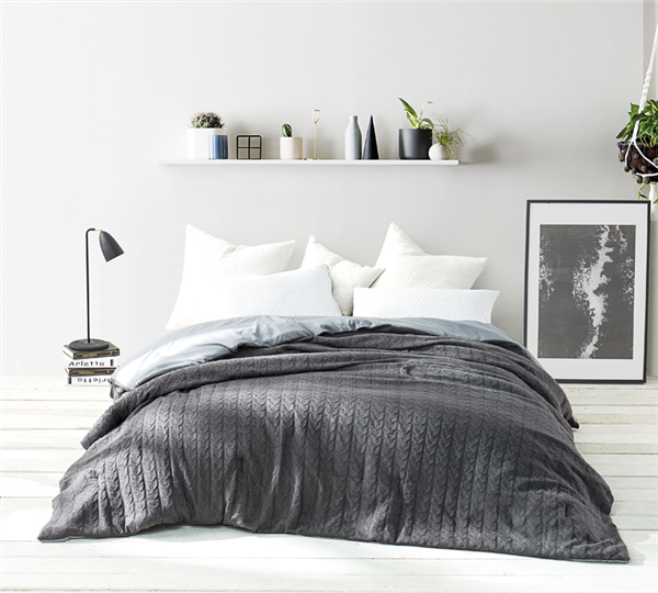 Cable Knit Comforter Granite Gray Oversized King Xl
