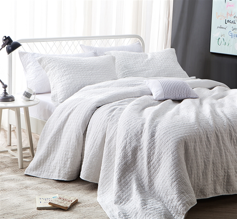 Dye Free Wrinkle Quilt All Natural White Stone Washed Oversized King Xl