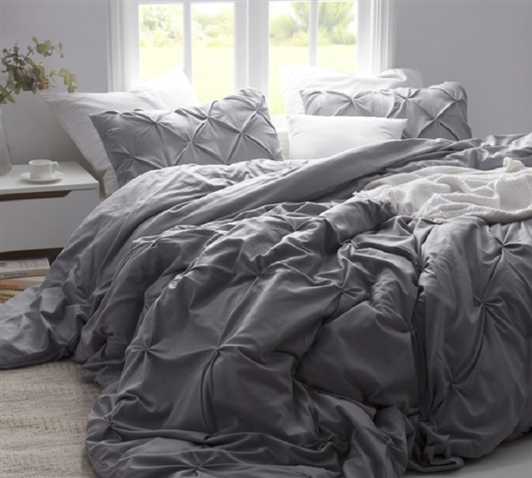 Stylish Neutral Gray Twin XL, Queen XL, or King XL Duvet Cover with Fashionable Pin Tuck Design