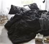Cozy Microfiber Twin XL, Queen XL, or King XL Duvet Cover in Bold Black and Pin Tuck Design
