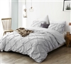 Extra Large Twin XL, Queen XL, or King XL Duvet Cover in Stylish Gray Pin Tuck Design and Machine Washable Material