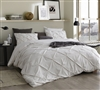 Extra Large Twin, Queen, or King Duvet Cover in Off-White with Unique Pin Tuck Design and Soft Microfiber