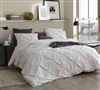 Essential Queen Bedding with Extra Length and Extra Width Stylish Jet Stream Off White Pin Tuck Queen XL Duvet Cover