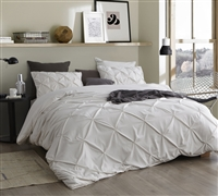 Off White Twin Extra Long Bedding One of a Kind Pin Tuck Design Jet Stream Oversized Twin XL Duvet Cover