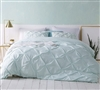 Hint of Mint Pin Tuck Duvet Cover - Oversized Bedding