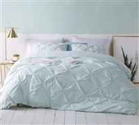 Super Soft Luxurious Mint Green Pin Tuck Design Duvet Cover in Twin XL, Queen XL, or King XL Sizes