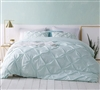 Hint of Mint Green Twin XL Oversize Duvet Cover Elegant Pin Tuck Design Essential Twin XL Extended Bedding