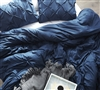 Extra Large Twin, Queen, or King Duvet Cover with Super Soft Microfiber Exterior in Stylish Navy Pin Tuck Design