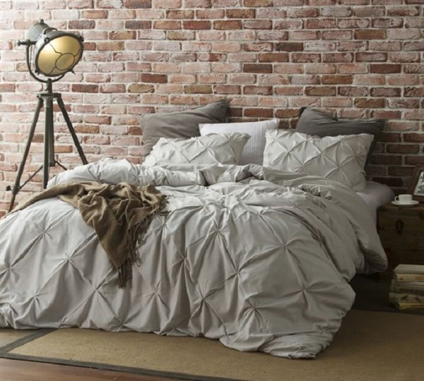 Neutral Beige Gray Oversized Twin, Queen, or King Duvet Cover with Warm Microfiber and Machine Washable Material