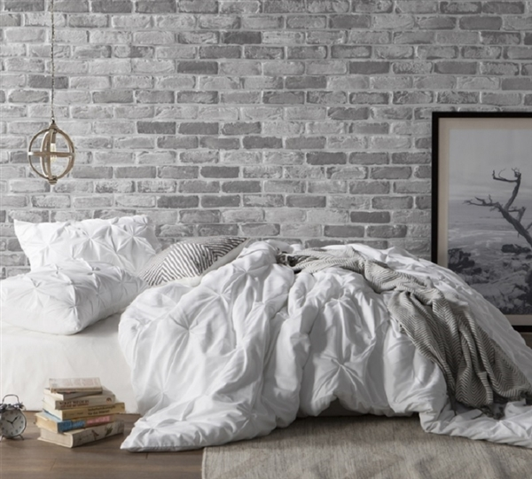 White Pin Tuck Duvet Cover - Oversized Bedding