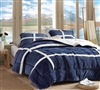 Extra Large King Comforter in Stylish Navy Blue with Plush Flannel and Cozy Sherpa Accents