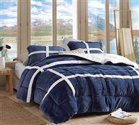 Most Comfortable Twin XL, Queen XL, or King XL Comforter in Stylish Navy Blue Flannel Design and Cozy Sherpa