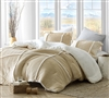 Flannel and Sherpa Extra Large Twin, Queen, or King Comforter in Easy to Match Tan Color