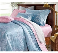 Solitude Extra Long Full Comforter Sets - Oversized Full Size Bedding Sets - Pink and Blue Bedding Comforter