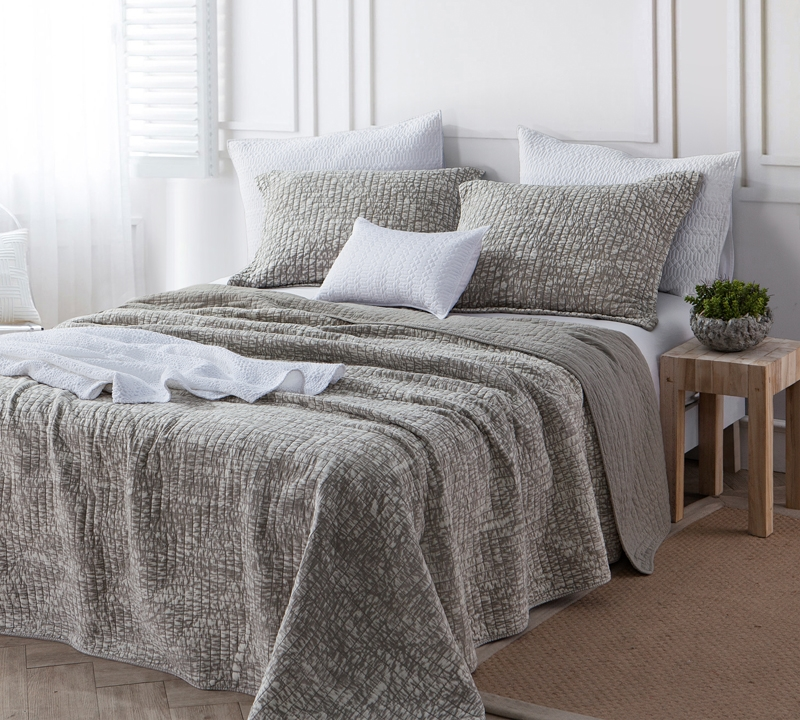 High Quality Full Xl Cotton Bedding Beige Gray Silver