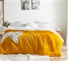 Machine Washable King Oversized Duvet Cover Warm Colored Citrusy Yellow and White King XL Bedding