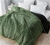 Machine Washable Extra Large Black and Green King Duvet Cover with Button Closure
