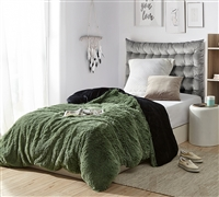 Are You Kidding? - Coma Inducer Twin XL Duvet Cover - Loden Frost/Black