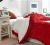 Machine Washable Queen Oversized Comforter Cover White and Red Plush Luxury Queen Bedding Essential