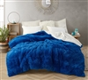Extra Large Twin, Queen, or King Duvet Cover in Bold Royal Blue and White Design with Coziest Plush