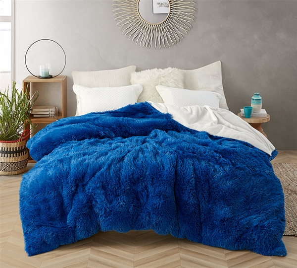 Coma Inducer King Duvet Cover - Are You Kidding? - Royal Blue/White