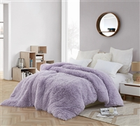 Coma Inducer Queen Duvet Cover - Are You Kidding? - Orchid Petal/White