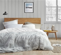 Coma Inducer King Duvet Cover - Are You Kidding? - Glacier Gray/White