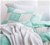 Jet Stream and Yucca Blended Textured - Off white and mint blended Queen shams - soft bedding shams sized Queen