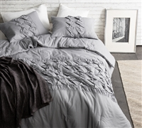 One-of-a-Kind Stylish Cadence Textured Extra Long Twin Quilt Alloy Gray Cozy Oversized Twin XL Bedding