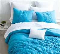 Comfortable Full XL Sized Bedding Brilliant Peacock Blue Stylish Full Oversize Quilt Textured Cadence Design