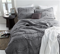 Queen Oversize Quilt Unique Relaxin' Chevron Ruffles Single Tone Alloy Gray Comfortable Queen XL Bedding