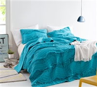 Unique Single Tone Peacock Blue Extended Twin Extra Long Quilt Stylish and Comfortable Relaxin' Chevron Ruffles Twin XL Oversize Bedding