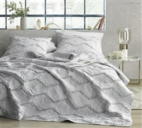 Moksha Textured Ruffles Full Quilt - Eternal Gray