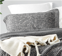 Affordable King Bedding Accessories Real King Size Sham with Subtle Textured Pewter Gray Pattern