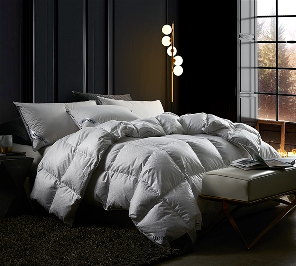 Luxuriously Comfortable Cotton and Goose Down and Feather Filled Oversized Twin XL Comforter