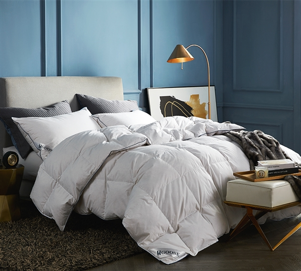 High End Luxury Extra Large King Comforter Hungarian Goose Down and Feather Softest King Bedding
