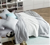 Oversized King Comforter Handcrafted Tundra Gray Knit with White Jacquard Comfortable King XL Bedding
