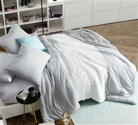 Stylish Handcrafted Tundra Gray Knit Extra Long Twin Comforter Unique White Jacquard Design Twin XL Bedding