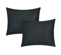 Chino Black Standard Shams - Black Pillow Sham Sets