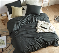 Oversized Queen Bedding in Stylish Faded Black with Relaxing Weighted Fill and Soft Microfiber Cover