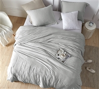 Oversized Twin XL, Queen XL, or King XL Comforter in Easy to Match Gray and Cozy Weighted Filling