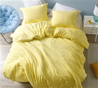 Extra Large Bright Yellow Twin, Queen, or King Comforter with Super Comfy Weighted Fill and Soft Cover