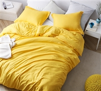 Bright Yellow Oversized Queen XL Comforter with Weighted Fill and Coziest Microfiber Cover