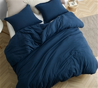 Easy to Match Navy Blue Oversized Queen Comforter with Comfy Weighted Fill and Machine Washable Cover