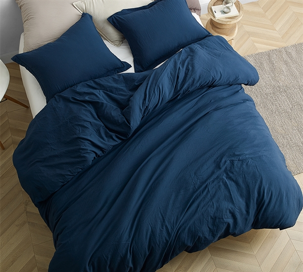 Oversized Weighted Twin XL Comforter in Stylish Easy to Match Navy Blue and Extra Large Length and Width